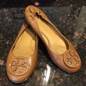 Tory Burch Camel Reva Tumbled Leather Ballet Flats